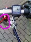 フォールディングバイクのハンドル部分のアップ
